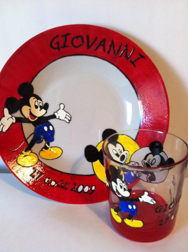 Assiette + verre Mickey