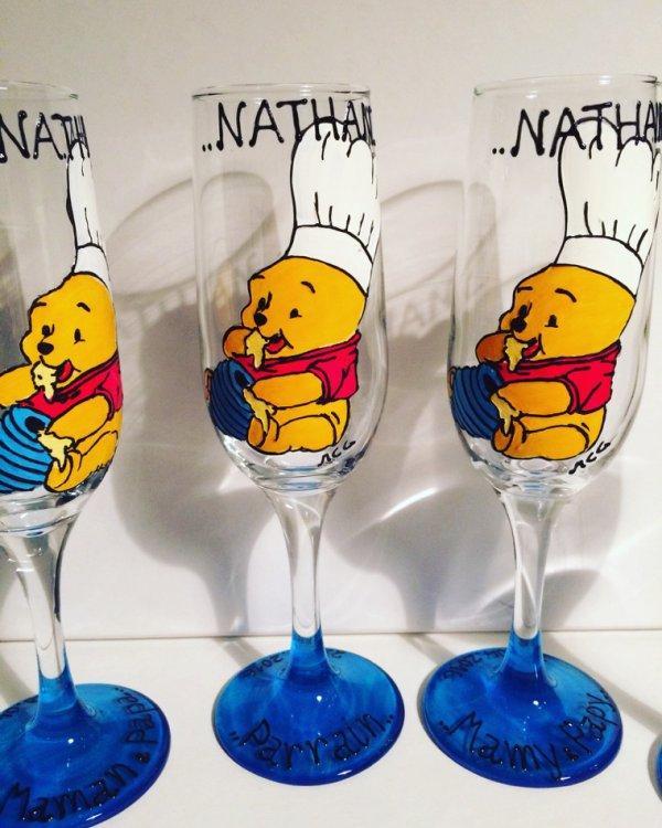 Verres personnalisés cadeau baptême thème Winnie l'ourson cuisinier