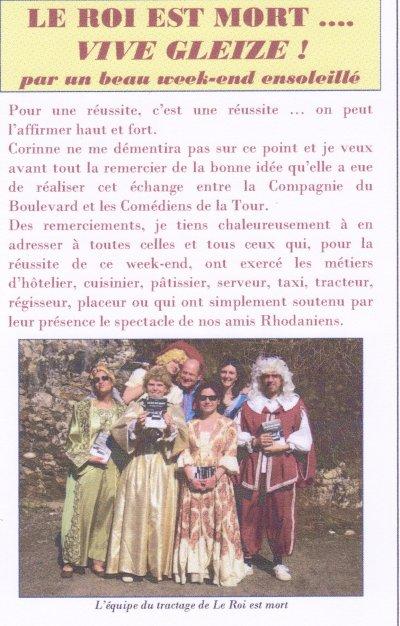 Article de la Gazette du Théâtre des Comédiens de la Tour