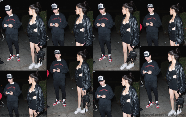 - 27/01/2018 : Madison Beer a été aperçue alors qu'elle était devant le night-club « Delilah » à West Hollywood. Madi était accompagnée de son boyfriend, Zack Bia. Madison portait un look total black. J'aime bien sa tenue, je lui donne un petit top. -