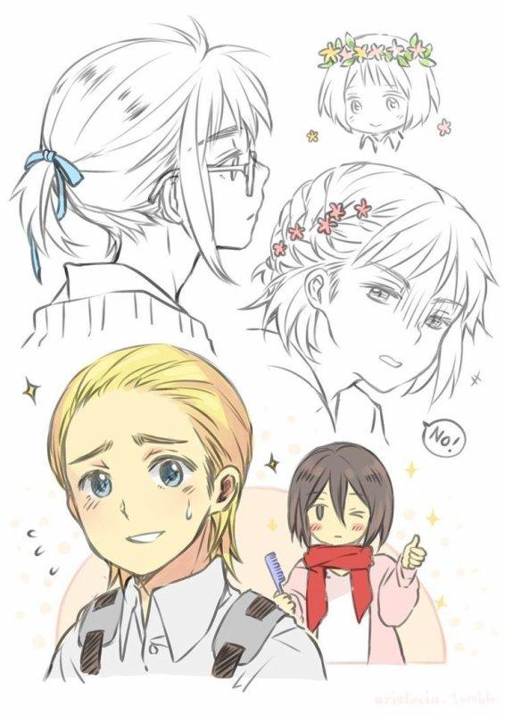 Mikasa la coiffeuse personnel de Armin ^^