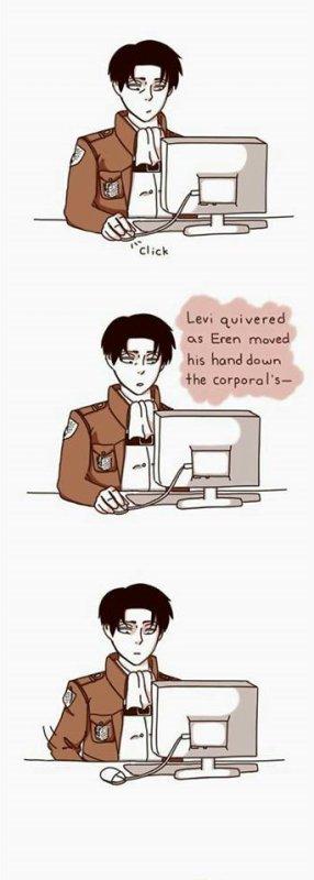Levi réagit au fiction/ Os : Ereri ^^