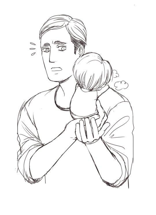 Même Tumbrl ce fout de ma poire pour me mettre ce genre d'image :  Bébé Levi malade