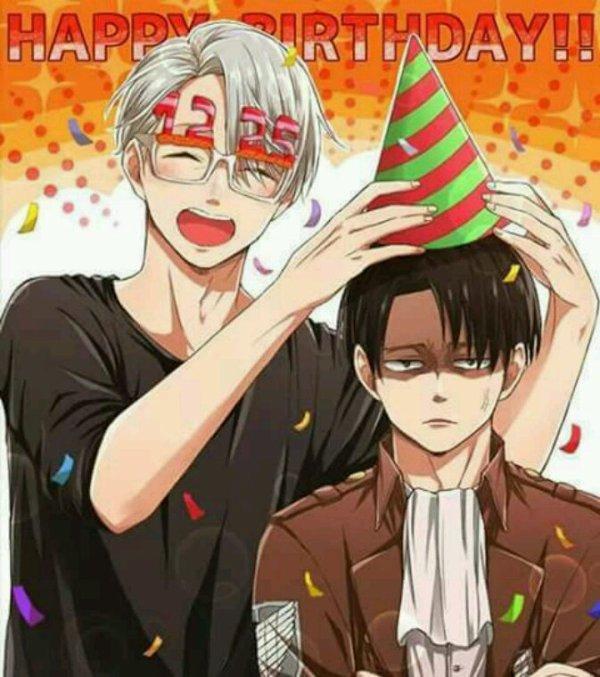 Merci a mon chaton à la fraise pour ces deux MAGNIFIQUES photos: Levi et Viktor fêtes leurs anniv' ensemble