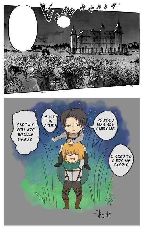 Armin n'est pas ton perchoir descends !! Comment veux tu que Mikasa t'apprécie et arrête de vouloir te tuer ! U.U