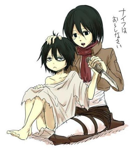 Mikasa: tu vas poser ce couteau bien sagement / Levi: ...
