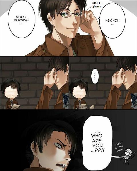 Hanji devrait lui passer ses lunettes de temps à autres pauvre Eren XD