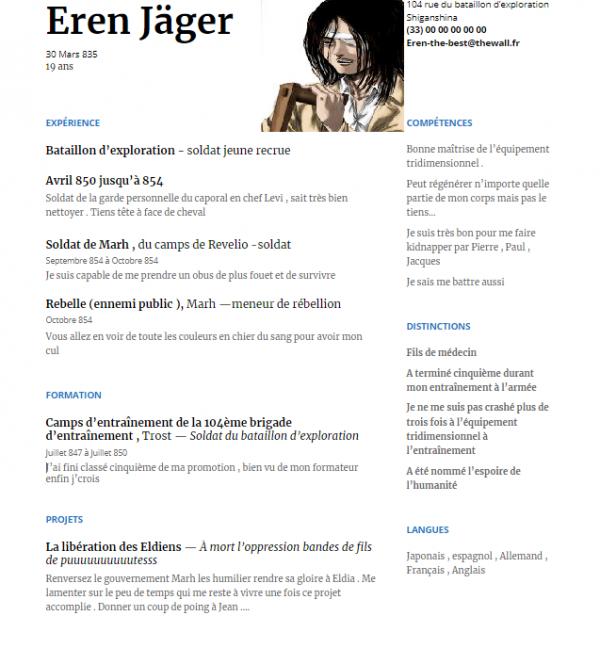 Le CV d'Eren