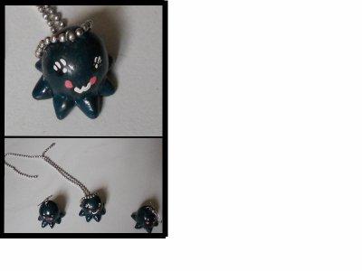 boucle d'oreille pieuvre et son collier