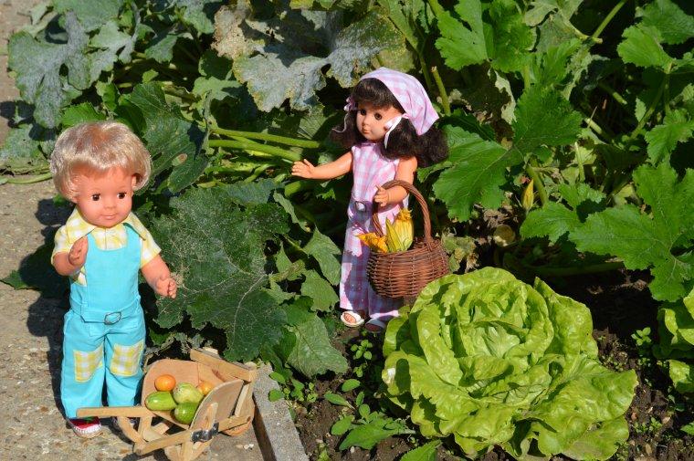 Marie-Françoise et Jean-Michel au jardin  , modèles de juillet 1970