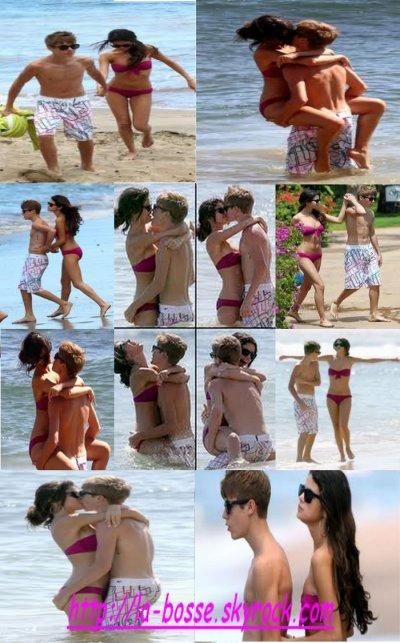Justin Bieber et Selena Gomez à la plage : y sont trop mignon !!!!!!  (l)(l)(l)