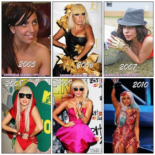 Evolution de GaGa de 2005 à 2010
