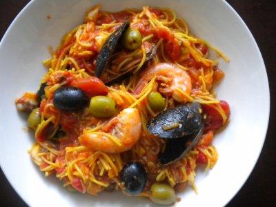 Fruits de mer et vermicelles