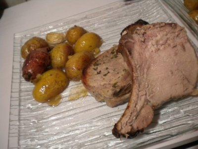 Carré de porc aux échalotes et pommes de terre