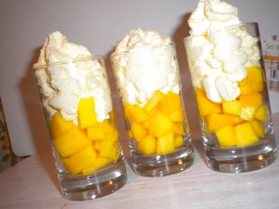 Verrines mangue chantilly passion