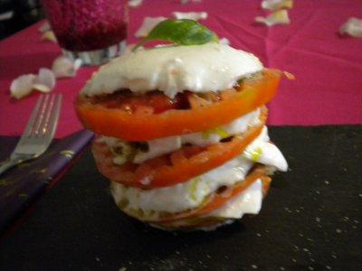 Mille-feuille de tomate mozzarella
