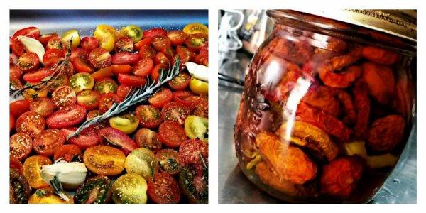 Tomates cerise séchées au four