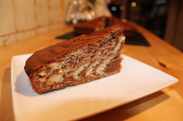 Gâteau zébré chocolat noisette