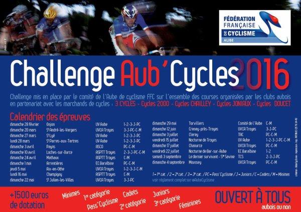 CHALLENGE AUB'CYCLES - CLASSEMENT INTERMEDIAIRE 3ème CATEGORIE