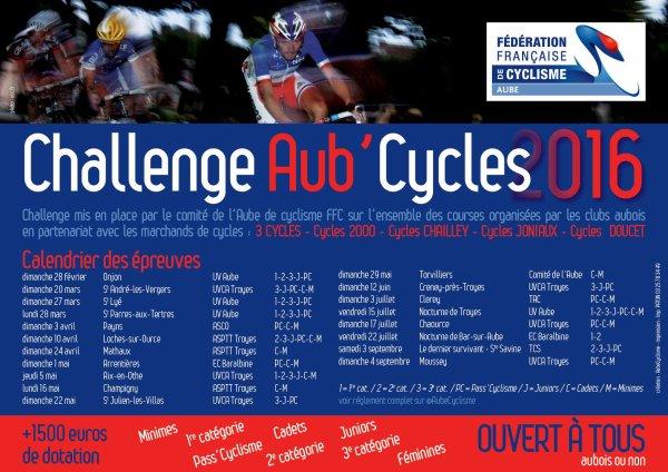 CHALLENGE AUB'CYCLES - CLASSEMENT FINAL 3ème CATEGORIE