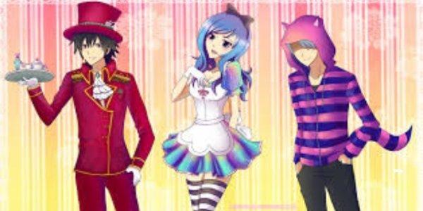 Juvia , Grey et Lyon-sama version Alice au pays des merveilles x)