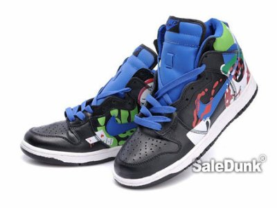 Laughy Nike Dunk High tops Custome sneaker Clown Poker