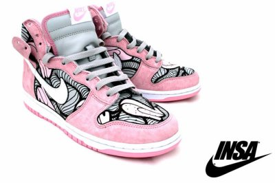 pink nike dunks high tops