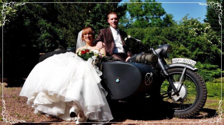 Mariage avec le side-car