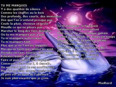 Poeme Tu Me Manque Marie