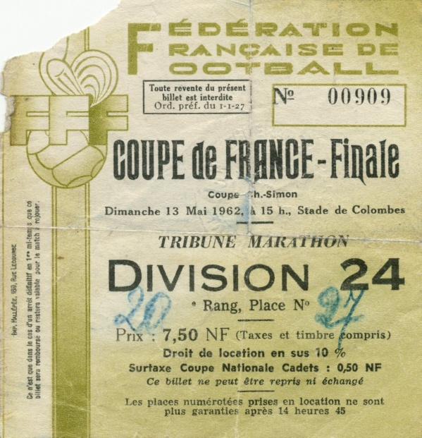 Billet asse nancy finale coupe de france 1962 assecollection37 - Billets finale coupe de france ...
