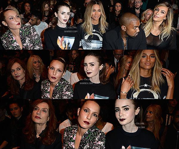 . 29/09/2013 : La belle Lily était au défilé Givenchy à Paris, pendant la Fashion Week habillée en Givenchy.   Un TOP pour ma part, Lilyest magnifique malgré le make-up très sombre et la tenue très courte. Qu'en penses-tu?.