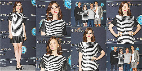 . 26/08/2013 : Lily Collins était au photocall du film The Mortal Instruments : City of Bones à Mexico. C'est tout en beauté que la magnifique et ravissante Lily Collins se rendait sur le dernier tapis rouge de la promotion au Mexique ! .