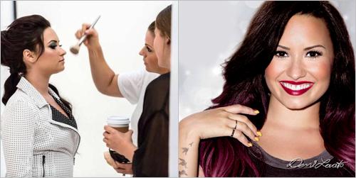 Voici deux photos du shoot de Demi pour la marque New York Color!
