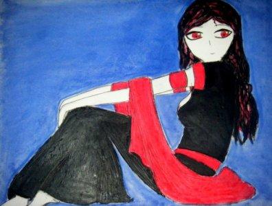 Une jeune demoiselle aux yeux rouges...