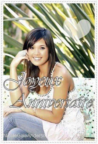 Aujaurd'hui  c'est lanniversaire de nicole anderson qui a 20 ans !!!! Bonne anniversaire nicole anderson !