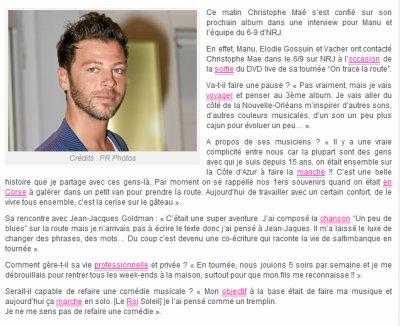 Christophe Maé se confie sur son prochain album sur NRJ Stars Actu !