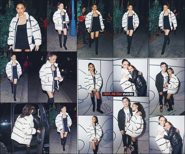 - -• 17/02/18-' : Madison Beer ainsi que son petit copain Zack Bia ont été photographiés à l'évents NBA All-Star, dans LA.    C'est vêtu d'une robe et cuissarde noire et d'une grosse veste 'Supreme' que Madison Beer s'est rendue à la cérémonie. Top ou un Flop pour la tenue ? -