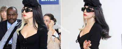 Lady Gaga arrivant à l'aéroport de LAX à Los Angeles.