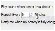 Emettre un avertissement sonore lorsque la batterie est bientôt vide
