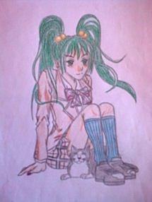jolie tite fillette en tenue d'écolière et son chat ^^