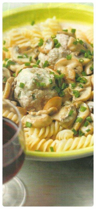 Pâtes aux boulettes & sauce champignons