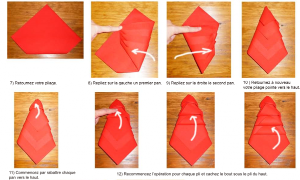 Réaliser un sapin de Noël avec une serviette de table en papier ou tissu. Pour votre repas de Noël