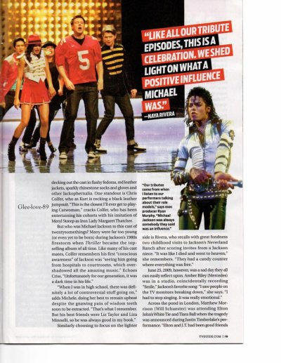 "Photos inédites du Tv Guide special "" Michael episode "" de Glee"