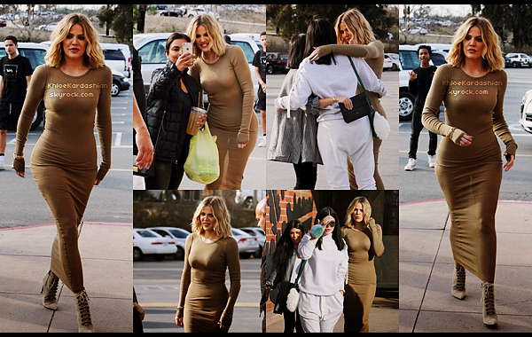 """CANDIDS  -  PHOTOSHOOT - EVENTS - INFO -  INSTAGRAM __Le 22 janvier notre magnifique Khloé à été vu à Woodland Hills alors qu'elle se rendait au restaurant Health Nut avec ses soeurs Kourtney et Kylie pour filmer leur télé réalité """"Keeping up with the Kardashians"""". Khloé et Kourtney ont fait une petite surprise à Kylie en décorant sa voiture avec des ballons et des photos d'elle, Kylie avait l'air super heureuse et sa fait plaisir de voir les 3 soeurs ensembles. Niveau look, mon dieu alerte à la bombe ! Khloé était tout simplement parfaite dans cette longue robe Faith Connexion, cette couleur marron clair lui allait tellement bien, et la coupe la met vraiment en valeur. Ses bottines sont des Balenciaga qu'elle a déja porter plus d'une fois. En tout cas moi je suis fan de ce look et lui accorde un top !"""