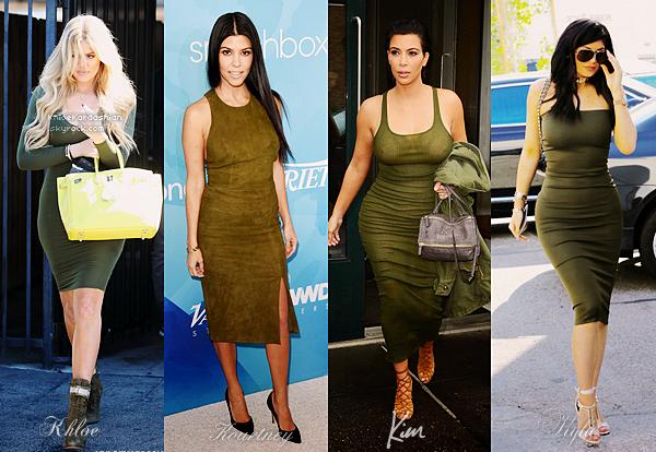 Parmis les 4 soeurs qui de Khloé, Kourtney, Kim ou Kylie porte le mieux la petite robe moulante kaki, la couleur du moment ?