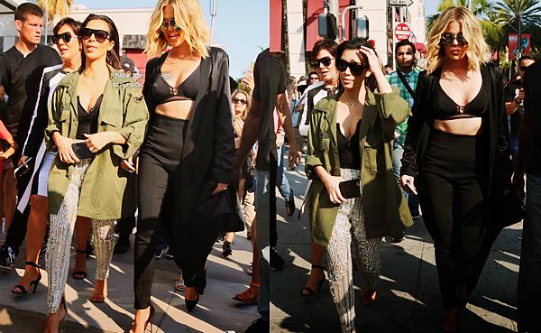 29 JUILLET 2016 •● Khloé, Kim et leur mère faisant du shopping à Beverly Hills sur Rodeo Drive.
