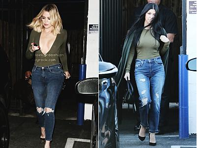 « Qui de Khloé Kardashian ou Kourtney Kardashian porte le mieux ce look jean/kaki ? »