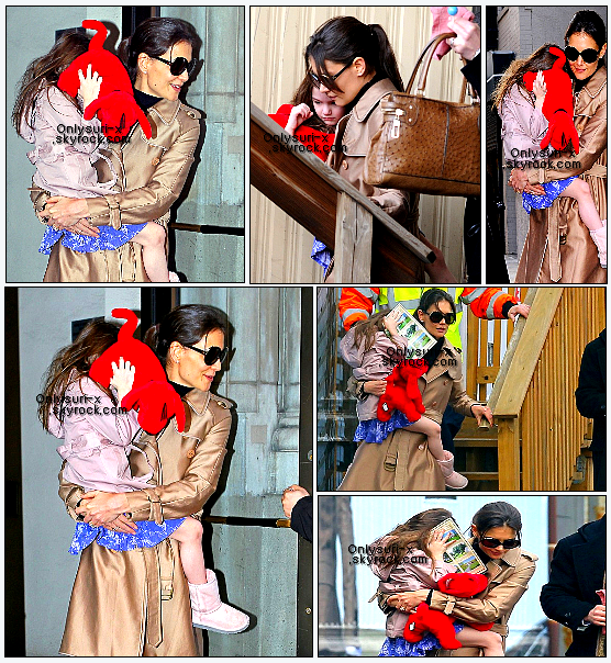 .    Suri Cruise has a helicopter ride- March 11th 2011  Katie Holmes carries her 4-year-old daughter, Suri, as they arrive at the 34th Street Heliport in New York City on Friday, March 11. The 32-year-old actress and Suri took off and left town in a helicopter!  Suri carried a Clifford the Big Red Dog stuffed animal with her for the trip and hid behind Clifford when she got a little camera shy. Katie was spotted leaving her apartment to run a few errands earlier in the day. .