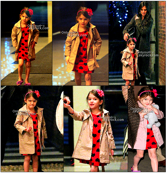 .   Katie Holmes and Suri Cruise see 'Wicked'- March 16th 2011    Katie Holmes takes her adorable daughter Suri to see the hit Broadway musical, Wicked, on Wednesday, March 16 in New York City. These pictures are very nice, you can see suri properly in these pictures and she looks beautiful and just like her mother. I love her dress too. and her little bow in her hair.       .