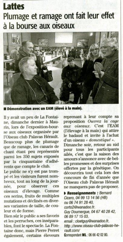 Article Midi Libre bourse de l'O.C.P.H. à Maurin